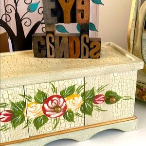 2 - Antiqued/Floral Painted Keepsake Wooden Boxes